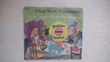 Golden Yellow Record Alice in Wonderland A VERY MERRY UNBIRTHDAY 78 rpm 1951