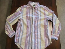 New NWT Ralph Lauren Boy Striped Cotton Dress Collar Button Down Shirt Med 10-12