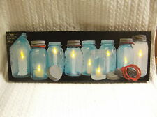 Row Canning Ball Jars Lighted Canvas Wall Decor Sign Candles Light Up New Long
