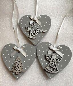 3 X Grey Christmas Decorations Nordic Wood Heart Bows Grey Angel Reindeer Tree