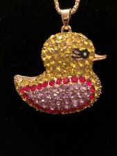 Betsey Johnson Necklace Yellow Pink Duck Crystals Enamel GIFT BOX