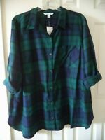 Nice Old Navy Forest Green Blue Black Plaid Cotton Flannel Shirt 1X XXL 2X 3X 4X