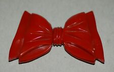 Vintage Red Bakelite Bow Tie Two-Piece Woman'S Belt Buckle