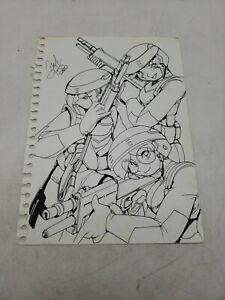 FRED PERRY Women Soldiers DRAWING ORIGINAL Comic ART ILLUSTRATION auto 9x11f2