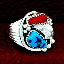 Native American Made Sterling Silver Turquoise & Coral Ring  Size 12.5 --- R51 E