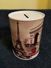 PARIS EIFFEL TOWER TIN CAN METAL MONEY COIN BANK  **Cute ~ Great Gift **