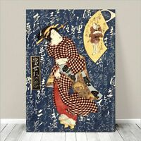 "Beautiful Japanese GEISHA Art ~ CANVAS PRINT 36x24"" Red Kimono on Blue"