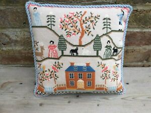 VINTAGE HAND EMBROIDERED TAPESTRY CUSHION COVER WITH CLEAN PAD - FOLK STYLE