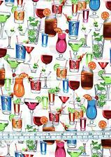 Fat Quarter Drinks Anyone Cocktails 100% Cotton Quilting Fabric White
