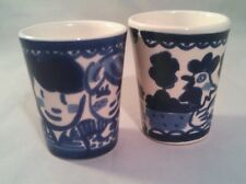 Blond Amsterdam Set of 2 Blue and White Shot Glasses ~ Chicken & Windmill