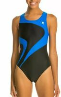 TYR Adult Alliance T-Splice Maxback One Piece Swimsuit, Size 34, Black/Blue 0171