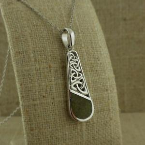 Sterling Silver Irish Connemara Marble Trinity Knot Pendant Ireland  by Solvar