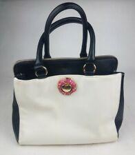 Betsy Johnson Hand Bag Purse Black White Pink Liner 3 Large Pockets 2 Inner Pock