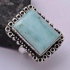 Amazonite Ethnic Handmade Ring Jewelry US Size-7.5 AR 41814