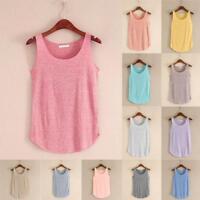 Women Summer Tank Tops Sleeveless Round Neck Loose Singlets Vest Shirt Tops AU