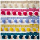 Per Metre Luxury Velvet Feel Pom Pom Fringe Trim 17 Colours 15mm Balls