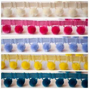 Per Metre Luxury Velvet Feel Pom Pom Fringe Trim  Colours 15mm Balls