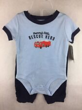 NWT Carter's Bodysuit Blue Pant Set Mommy's Rescue Hero Firetruck Size 6 months