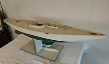 "42"" Vintage Antique Model Sailing Pond Yacht Sailer Sail Boat W/ Stand"