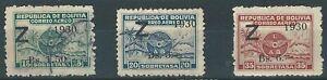 Bolivia: 1930; Scott C24-C26, mint and used. BO10/