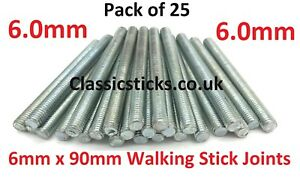 WALKING STICK MAKING JOINT PACK - QTY 25 OF 6mm-90mm ROD