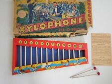 Vintage 40's Child TIN Instrument XYLOPHONE 12 Note Chimes w/ Box Music Hammers