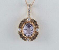 "LeVian 14K Rose Gold Amethyst Smoky Quartz White Sapphire Necklace Pendant 18"""