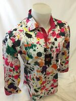 Mens SUSLO COUTURE Designer Shirt Woven Shirt MULTI COLOR SPLASH PAINT PINK NWS