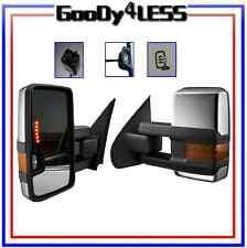 99-02 Chevy Silverado GMC Sierra Towing Mirrors Power Heated Chrome Turnsignal