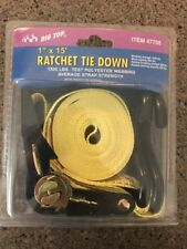 "NEW - BIG TOP 1"" X 15' ADJUSTABLE RATCHET TIE DOWN STRAP - 1500 LBS. STRENGTH"