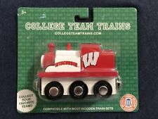 """University Of Wisconsin Wooden Toy Train Engine """"Bucky"""" By College Team Trains"""