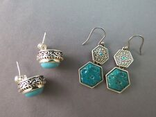 Lot 2 Turquoise Look Silver Tone Earrings Pierced Dangle Post Glass Cabs Cute!