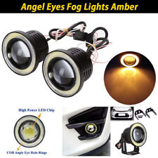 "2.5"" inch LED Fog Light Projector Driving Lamp COB Angel Eye Halo Ring Yellow"