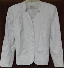 TALBOTS WOMAN Summer KEYHOLE LACE True White BLAZER JACKET Petite 12W Large TAGS