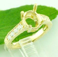 14k Solid Yellow gold 0.30 ct Ladies Semi Mount Diamond Ring Fits 6X8 7X9 4.70gr