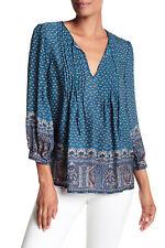 JOIE Rinjani 100% Silk Pleated Print Blouse color DEEP MARINE Size M NEW