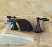 Widespread Bathroom Sink Faucet LED Waterfall Spout Basin Vanity Mixer Tap
