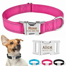 Reflective Personalized Dog Nylon Collar Custom Samll Medium Cat Puppy Dogs Name