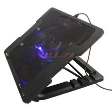 "USB 2 Fans LED Laptop Cooling 9-17"" Adjustable Anti-Slip Stand Cooler Pad CA"