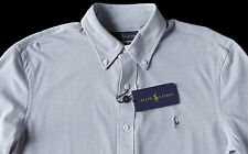 Men's RALPH LAUREN Light Gray Knit Oxford Shirt Medium M NWT NEW Nice!