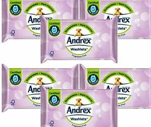 6 x ANDREX WASHLETS FRAGRANCE FREE TOILET TISSUE PAPER WIPES FLUSHABLE 36 WIPES