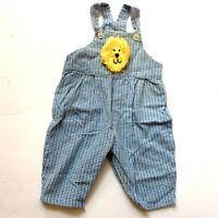 New Potatoes Baby Boy 6M Lion Gingham Plaid Romper Jumper Overalls Vintage
