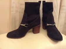 New 🌹Next🌹Size 7 (41 EU) Brown Suede Leather Block Heel Sock Slip On Boots