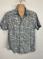 MEN FAT FACE SIZE LARGE BLUE BEACH SCENE CASUAL SHORT SLEEVE CREW NECK SHIRT TOP