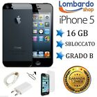 APPLE IPHONE 5 16GB NERO GRADO B ORIGINALE RIGENERATO RICONDIZIONATO ACCESSORI