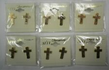 Wholesale Clearance-6 Cloisonne Mini Cross Post Earrings-Exclusive-New