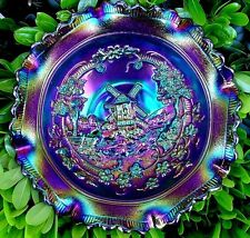 "IMPERIAL""CARNIVAL GLASS""ANTIQUE~c1911~ELEC""PURPLE""WINDMILL""8""DEEP""BOWL""MINT&PERF"
