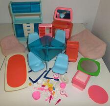VTG Barbie Dream Doll House Furniture 1970s Hutch Vanity Kitchen Dishes Toilet