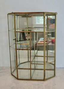 Glass brass vintage curio cabinet display case large wall or table mirror 13 1/2