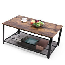 Wooden Large Coffee Table Storage Mesh Shelf Vintage Living Room Furniture